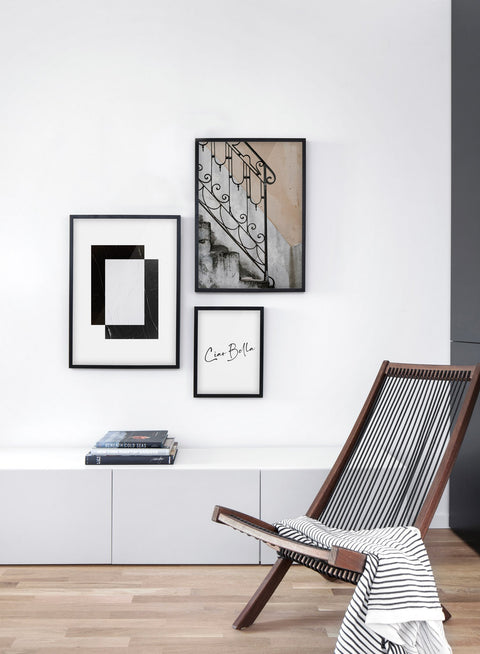 Minimalist design poster by Opposite Wall with abstract illustration Frame Within A Frame - Living room with gallery wall trio