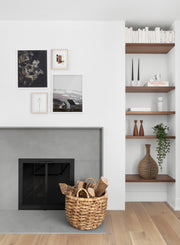 Hydrangea modern minimalist photography poster by Opposite Wall - Living room with fireplace
