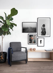 Into the Mist modern minimalist photography poster by Opposite Wall - Living room with fireplace