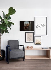 Scandinavian poster by Opposite Wall with black and white graphic typography design of Ciao Bella - Living room with Gallery Wall
