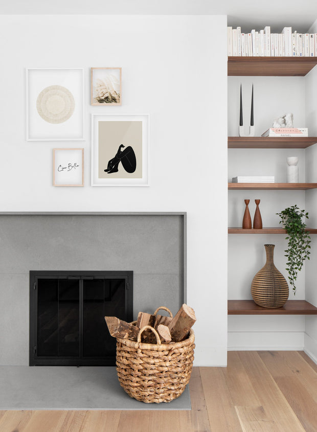 Minimalist art print by Opposite Wall with trendy design of a woman silhouette - Living room with a fireplace
