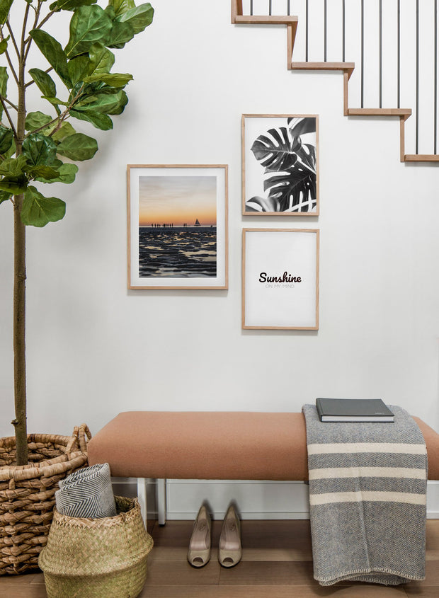 Scandinavian poster by Opposite Wall with black and white graphic typography design of Sunshine on my mind - Hallway with staircase