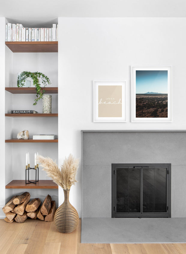 Distant Mound modern minimalist photography poster by Opposite Wall - Living room with a fireplace