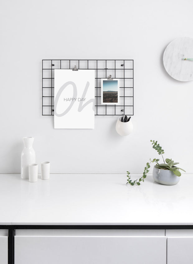 Scandinavian poster by Opposite Wall with black and white graphic typography design of Oh Happy Day - Kitchen - Duo