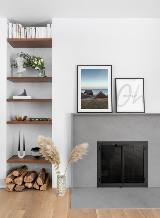 Seaside Village modern minimalist photography poster by Opposite Wall - Living room with fireplace - duo