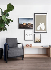 Wooden Shacks modern minimalist photography poster by Opposite Wall - Living room