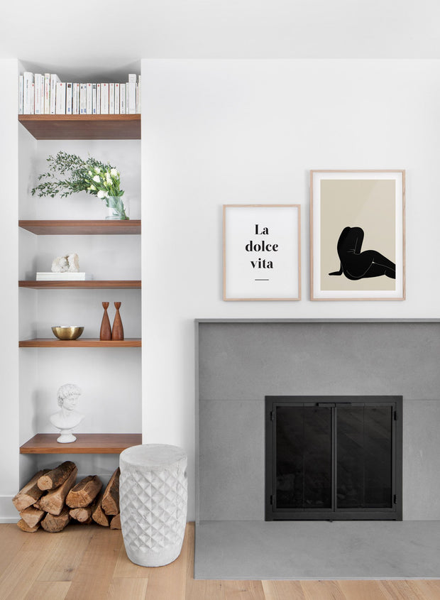 Modern minimalist poster by Opposite Wall with abstract illustration of a woman sitting - Gallery wall duo - Living room with a fireplace