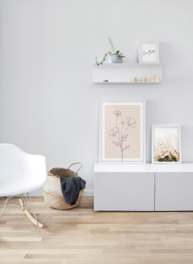Modern minimalist poster by Opposite Wall with abstract illustration line art of Poppy Sketch in Pink  - Living room