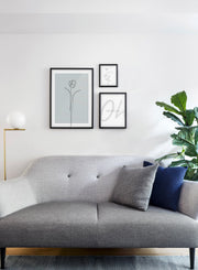Modern minimalist poster by Opposite Wall with abstract illustration of Tulip in mint - Wall Gallery trio - Living room