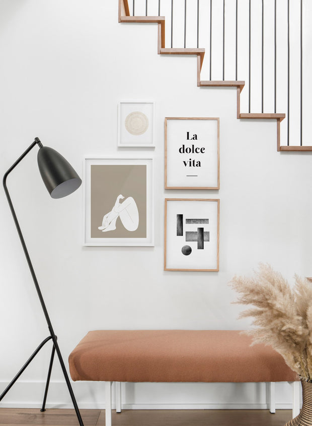 Minimalist art print by Opposite Wall with trendy design of a woman silhouette - Living room with a staircase