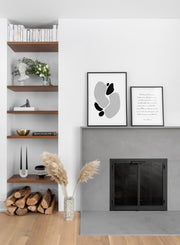 Modern minimalist poster by Opposite Wall with abstract illustration of Stone Shapes -  Living room with a fireplace
