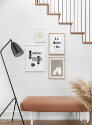 Minimalist design poster by Opposite Wall with abstract rectangle figures - Hallway with a staircase