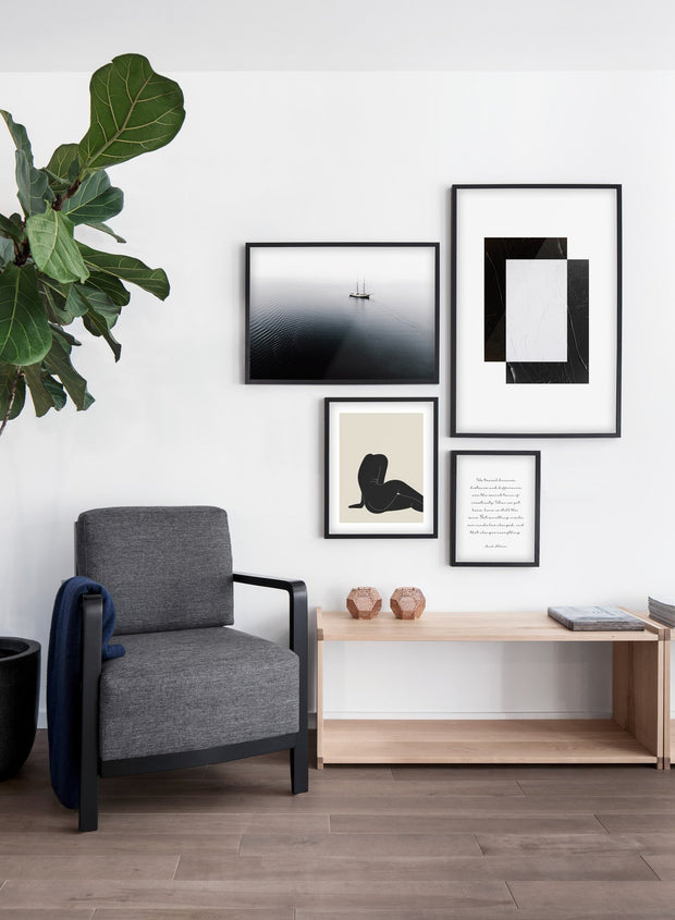 Lone ship modern minimalist photography poster by Opposite Wall - Living room with gallery wall quad