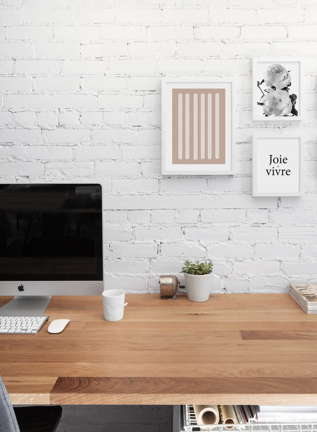 Scandinavian poster by Opposite Wall with black and white graphic typography design of Joie de Vivre - Office with Gallery Wall Trio