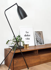 Scandinavian poster by Opposite Wall with black and white graphic typography design of La Dolce Vita - Living room - Duo