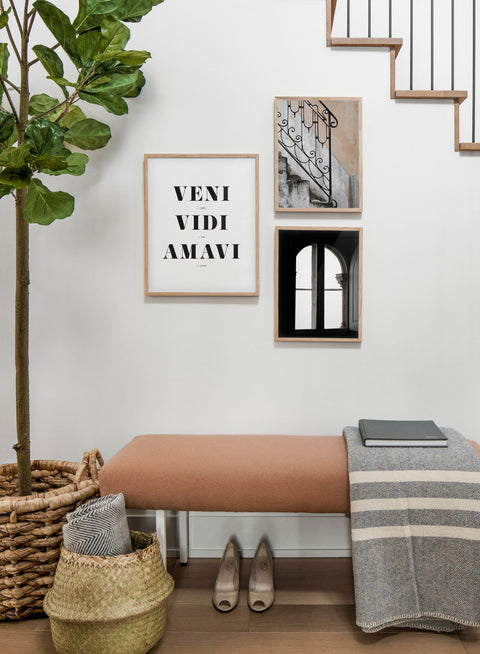 Scandinavian poster by Opposite Wall with black and white graphic typography design of Veni Vidi Amavi - Hallway with a staircase