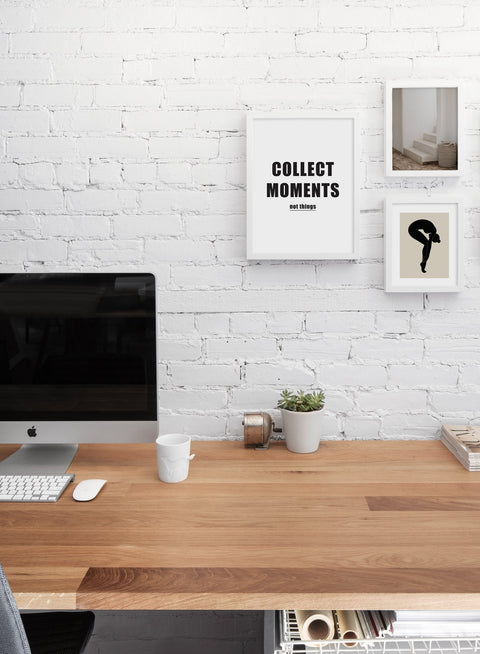 Scandinavian poster by Opposite Wall with black and white graphic typography design of Collect Moments - Living room with Gallery Wall