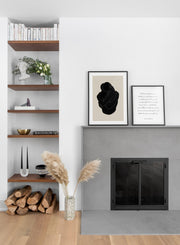 Minimalist design poster by Opposite Wall with abstract embracing couple - Living room with a fireplace - duo