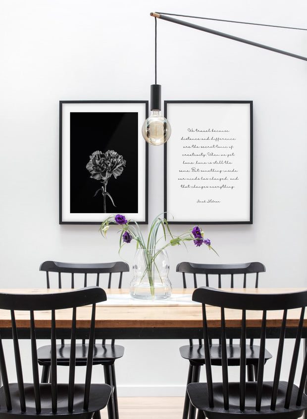 Scandinavian poster by Opposite Wall with black and white graphic typography design of Travel - Dining room