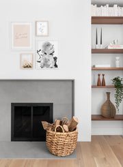 Scandinavian poster by Opposite Wall with trendy La Vie en rose in Pink - Living room with a fireplace - Wall gallery