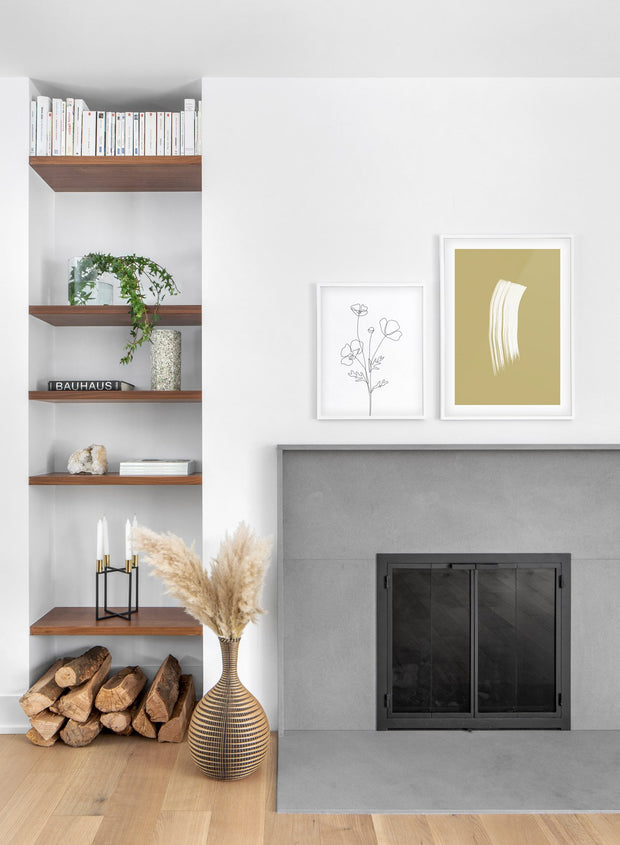 Scandinavian poster by Opposite Wall with hand-made art design Golden Brushstroke - Cozy living room with a fireplace