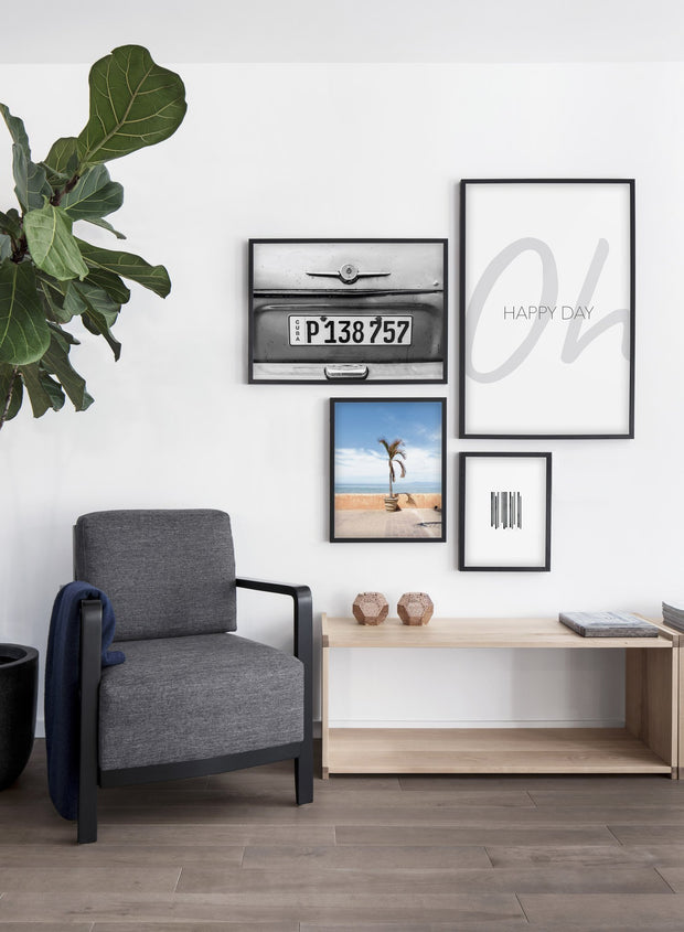 Cuba modern minimalist black and white photography poster by Opposite Wall - Living room