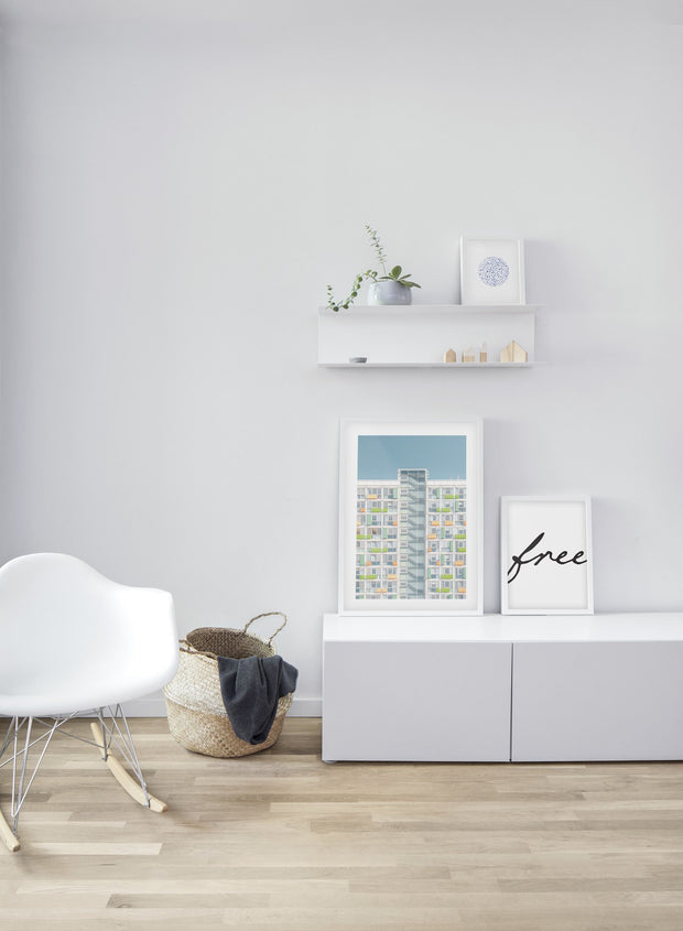 Neon High-Rise modern minimalist photography poster by Opposite Wall - Living room - Trio
