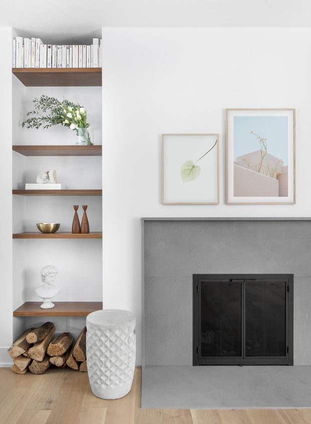 Feathery Plants modern minimalist photography poster by Opposite Wall - Living room with fireplace - Duo