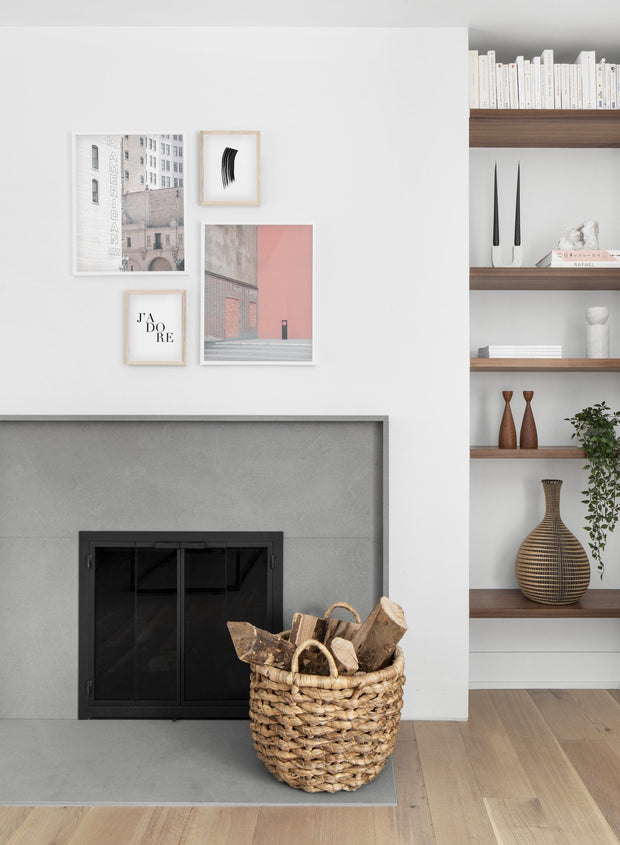 Pink Wall modern minimalist photography poster by Opposite Wall - Living room - Fireplace