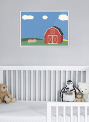 Modern minimalist poster by Opposite Wall with collage illustration of barn on a farm - Nursery