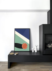 Modern minimalist poster by Opposite Wall with abstract collage illustration of tennis ball on court - Living room with a fireplace