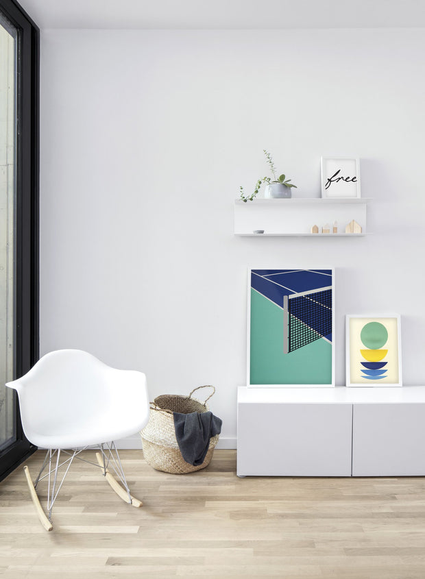 Modern minimalist poster by Opposite Wall with abstract collage illustration of tennis court - Living room - Trio
