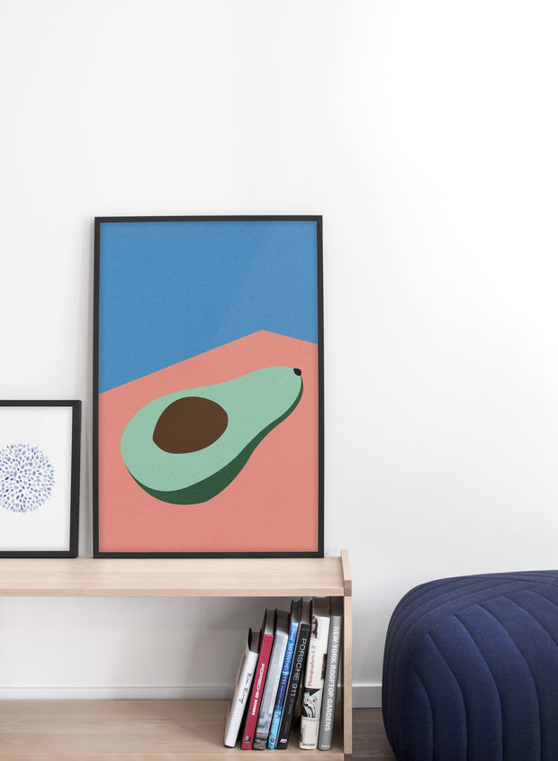 Modern minimalist poster by Opposite Wall with abstract collage illustration of avocado - Living room - Duo