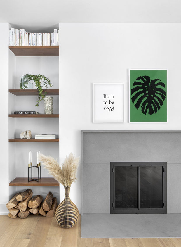 Modern minimalist poster by Opposite Wall with abstract collage illustration of monstera leaf - Living room - Duo