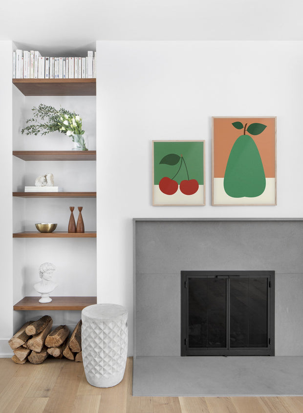Modern minimalist poster by Opposite Wall with collage illustration of green pear - Living room - Duo