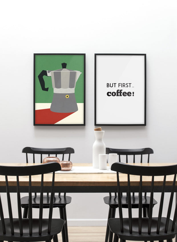 Modern minimalist poster by Opposite Wall with abstract collage illustration of espresso maker - dining room - Duo