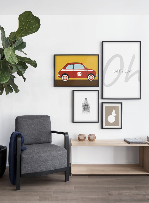 Modern minimalist poster by Opposite Wall with abstract collage illustration of vintage automobile car - Living room