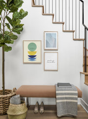 Modern minimalist poster by Opposite Wall with abstract collage illustration of colourful shapes - Hallway - Trio