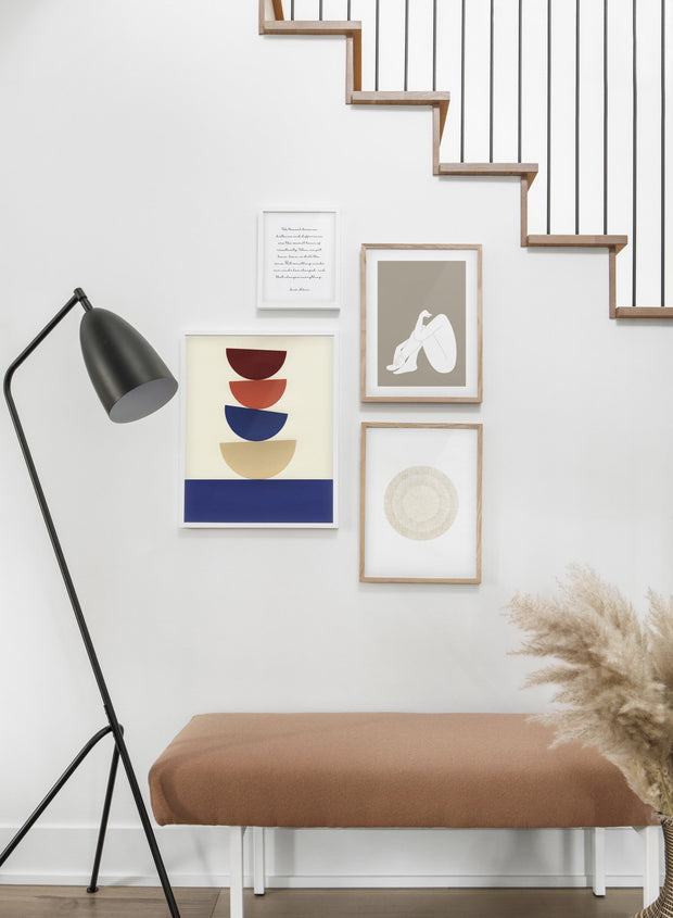 Modern minimalist poster by Opposite Wall with abstract collage illustration of balanced bowl shapes - Hallway