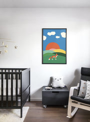 Modern minimalist poster by Opposite Wall with abstract collage illustration of fox in hills - Nursery