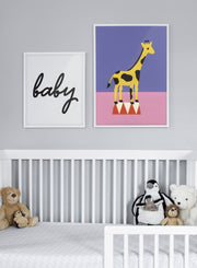 Modern minimalist poster by Opposite Wall with abstract collage illustration of giraffe standing on podium - Nursery - Duo