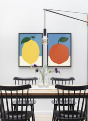 Modern minimalist poster by Opposite Wall with abstract collage illustration of orange - Duo - Dining room