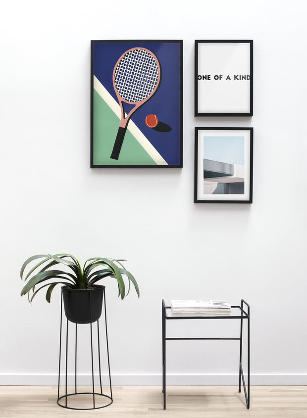 Modern minimalist poster by Opposite Wall with abstract collage illustration of tennis racket - Living room - Trio