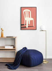 Modern minimalist poster by Opposite Wall with abstract collage illustration of plastic lawn chair - Living room