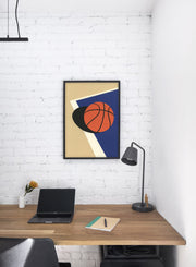 Modern minimalist poster by Opposite Wall with abstract collage illustration of basketball - Personal Office