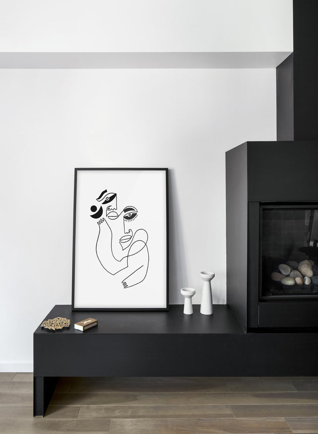 Scandinavian poster by Opposite Wall with abstract line art illustration Belonging - Poster + Frame - Living Room