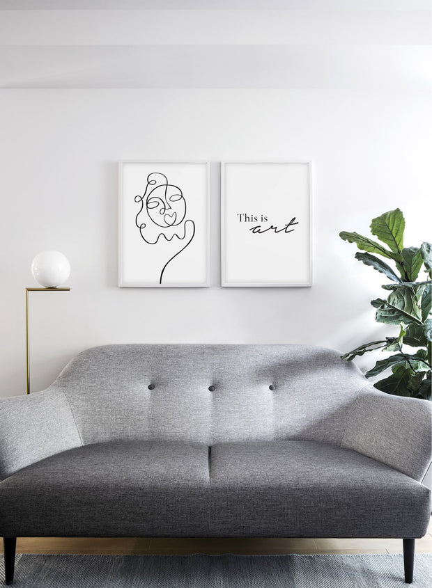 Scandinavian poster by Opposite Wall with abstract line art illustration Sunny - Duo - Living Room