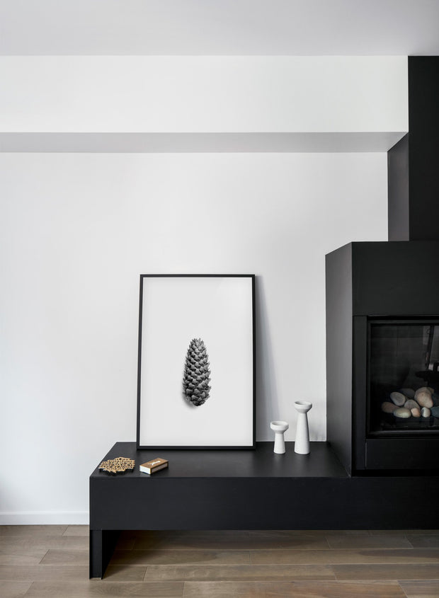 Modern minimalist poster by Opposite Wall with trendy black and white art photo -  Pretty Pine - Fireplace
