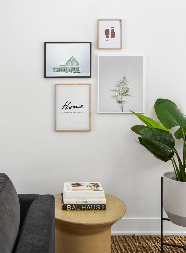 Green Home in Snow modern minimalist photography poster by Opposite Wall - Living room