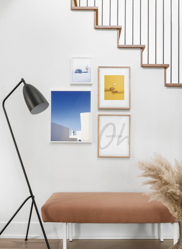 Rooftops modern minimalist photography poster by Opposite Wall - Hallway with a staircase